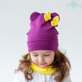 Шапка+снуд для девочки HOHLOON фиолетовый/желтый